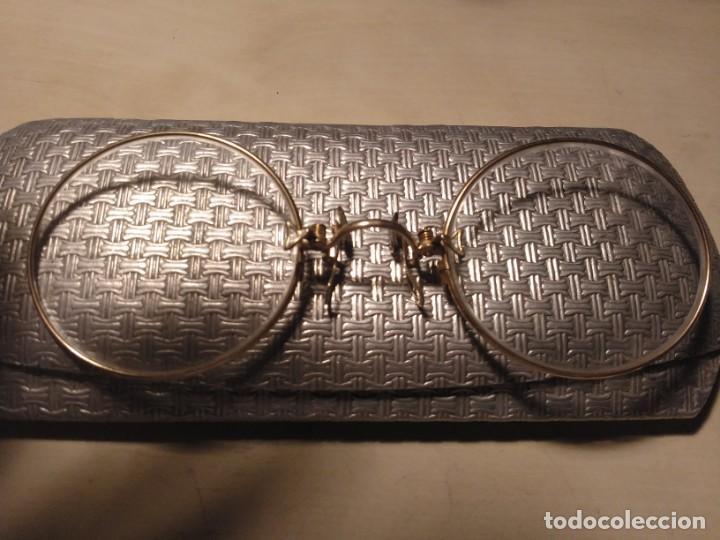Antigüedades: Anteojos gafas de pinza binoculares Quevedo con montura y funda - Foto 2 - 144804998