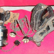 Antigüedades: ANTIGUO MOTOR Y PEDAL PARA MAQUINA DE COSER ENCHUFES DE PORCELANA. Lote 144806334