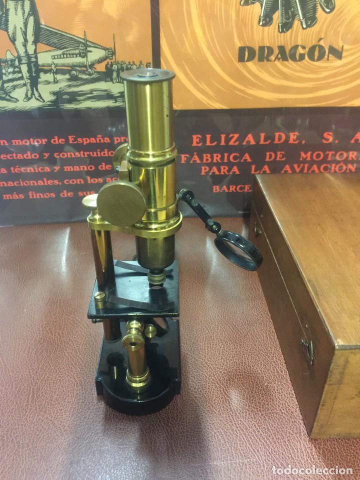 Antigüedades: PRECIOSO MICROSCOPIO FABRICADO ENTRE 1850 Y 1880 EN UN ESTADO MUY BUENO - Foto 5 - 145152270