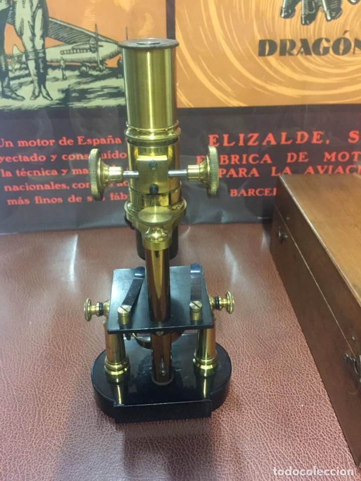 Antigüedades: PRECIOSO MICROSCOPIO FABRICADO ENTRE 1850 Y 1880 EN UN ESTADO MUY BUENO - Foto 6 - 145152270