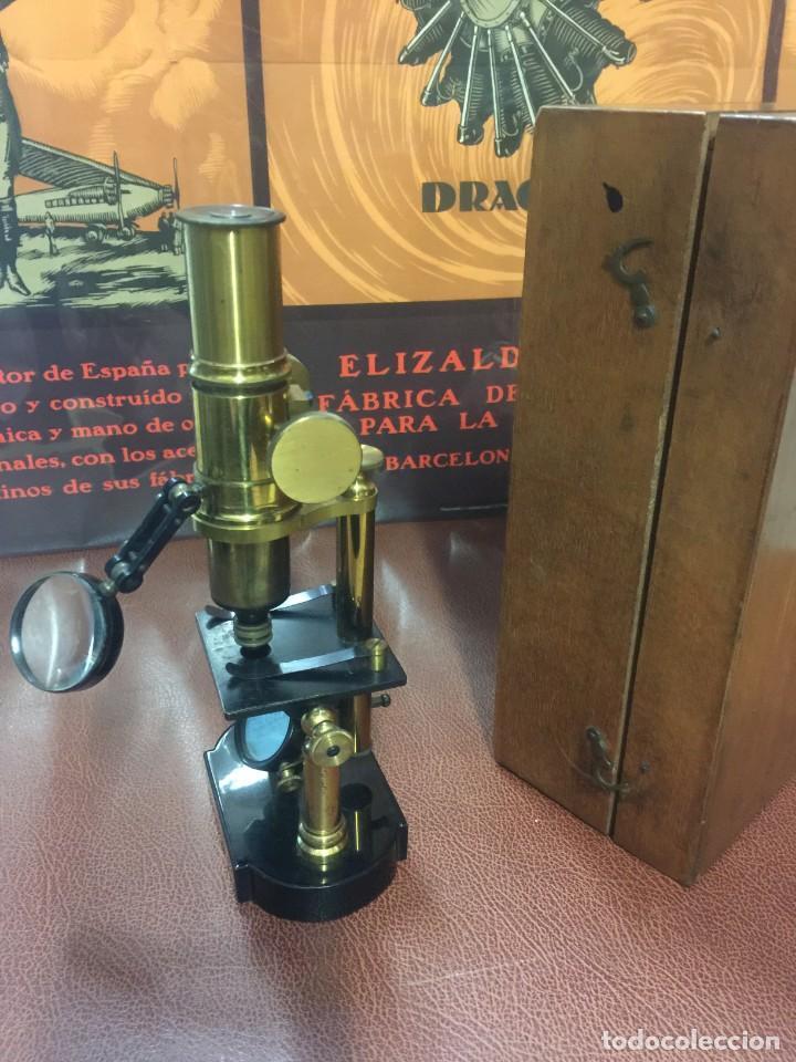 Antigüedades: PRECIOSO MICROSCOPIO FABRICADO ENTRE 1850 Y 1880 EN UN ESTADO MUY BUENO - Foto 7 - 145152270