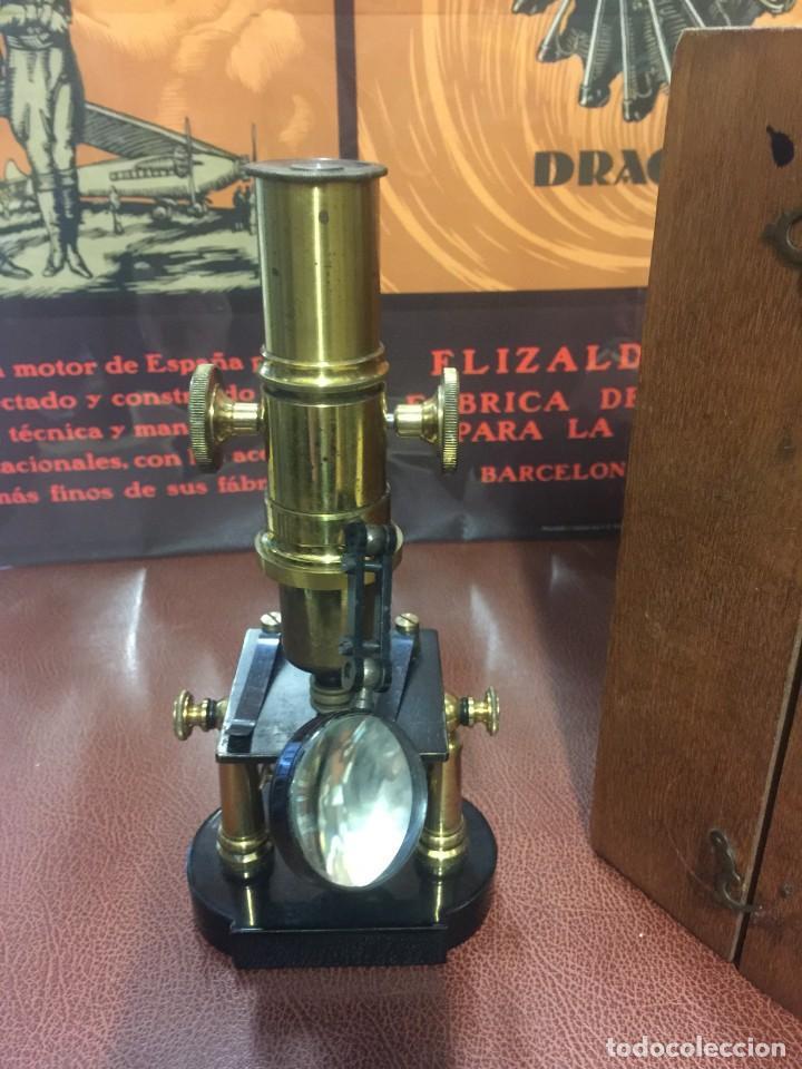 Antigüedades: PRECIOSO MICROSCOPIO FABRICADO ENTRE 1850 Y 1880 EN UN ESTADO MUY BUENO - Foto 8 - 145152270