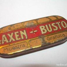 Antigüedades: MINUSCULA Y RARA CAJITA DE LATA LITOGRAFIADA.. DE MUESTRA GRATUITA...LAXEN BUSTO.. Lote 145334314