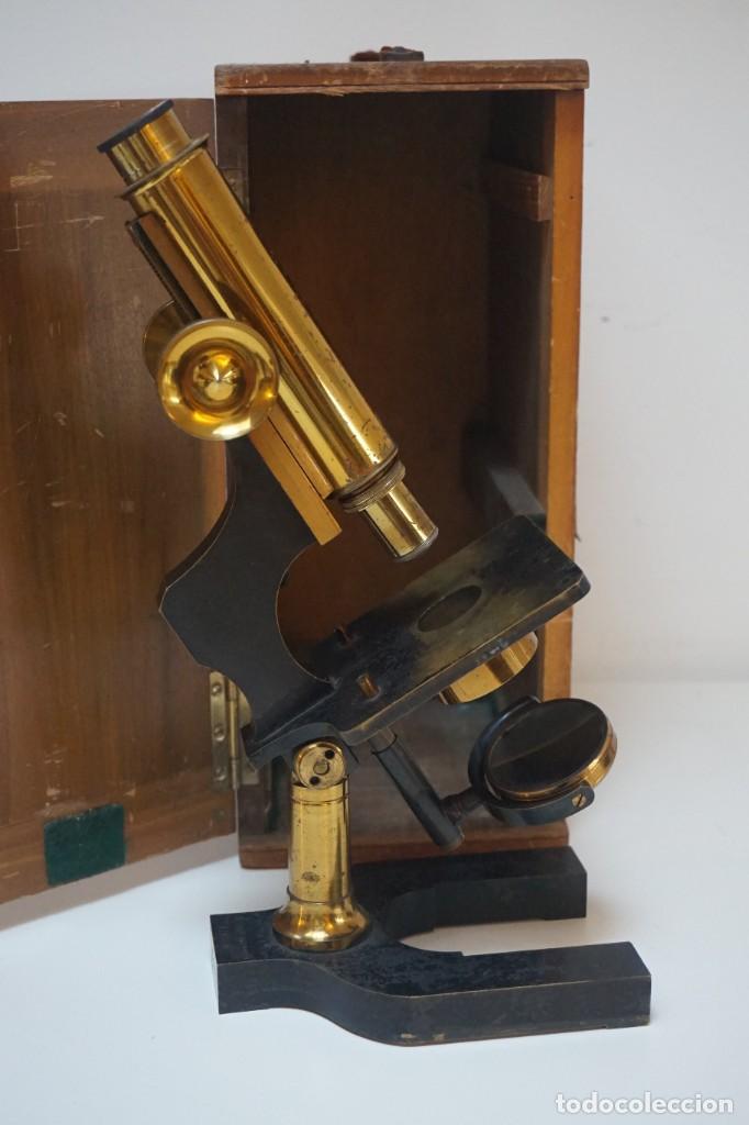 Antigüedades: ANTIGUO MICROSCOPIO INGLÉS 'WATSON & SONS' c.1890 - Foto 18 - 145888350
