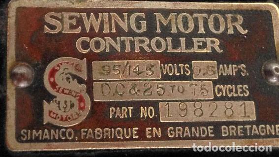 Antigüedades: ANTIGUO CONTROLADOR DEL MOTOR SIMANCO-SINGER MÁQUINA DE COSER - Foto 3 - 146033534