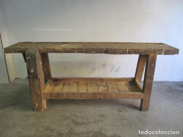 Antigüedades: Antiguo Banco de Carpintero - con Tornillo y Cajón - Largo 198 cm - Ancho - 43,5 cm - Altura 83 cm - Foto 2 - 146077142