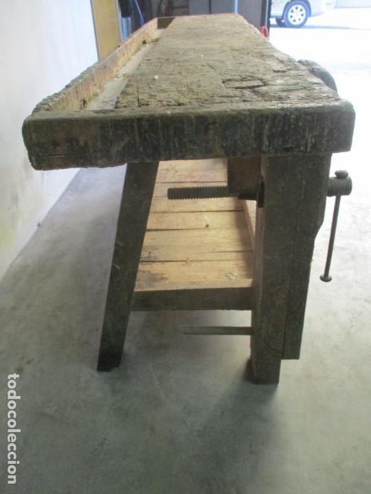 Antigüedades: Antiguo Banco de Carpintero - con Tornillo y Cajón - Largo 198 cm - Ancho - 43,5 cm - Altura 83 cm - Foto 3 - 146077142