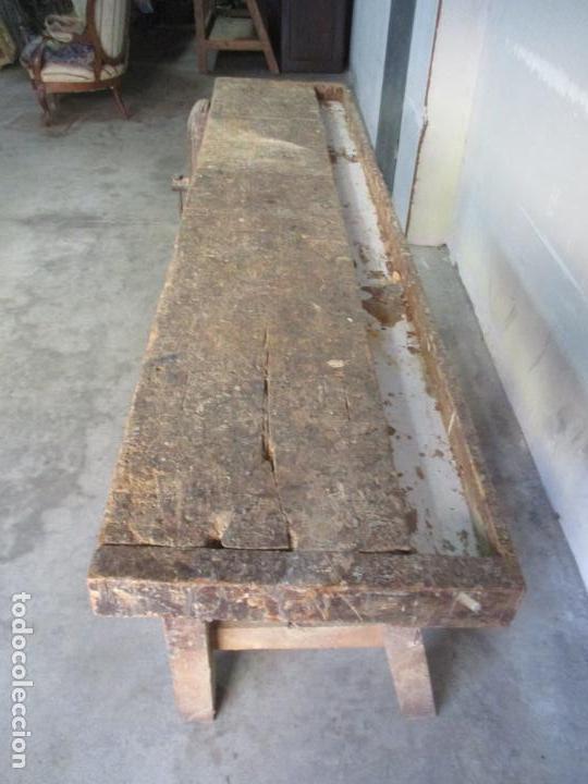Antigüedades: Antiguo Banco de Carpintero - con Tornillo y Cajón - Largo 198 cm - Ancho - 43,5 cm - Altura 83 cm - Foto 4 - 146077142
