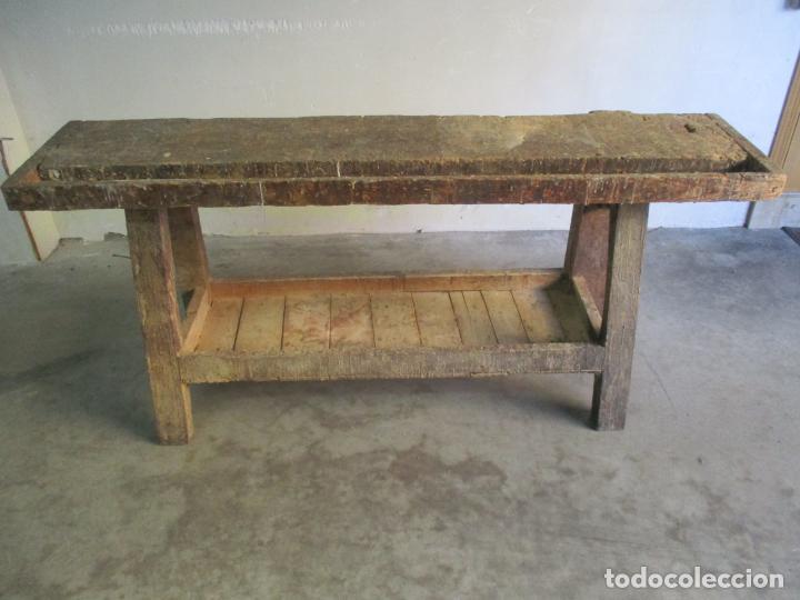 Antigüedades: Antiguo Banco de Carpintero - con Tornillo y Cajón - Largo 198 cm - Ancho - 43,5 cm - Altura 83 cm - Foto 5 - 146077142