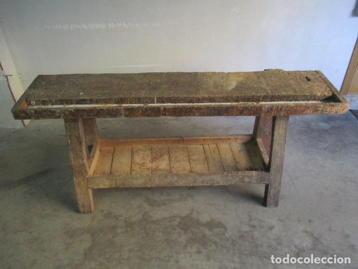 Antigüedades: Antiguo Banco de Carpintero - con Tornillo y Cajón - Largo 198 cm - Ancho - 43,5 cm - Altura 83 cm - Foto 8 - 146077142