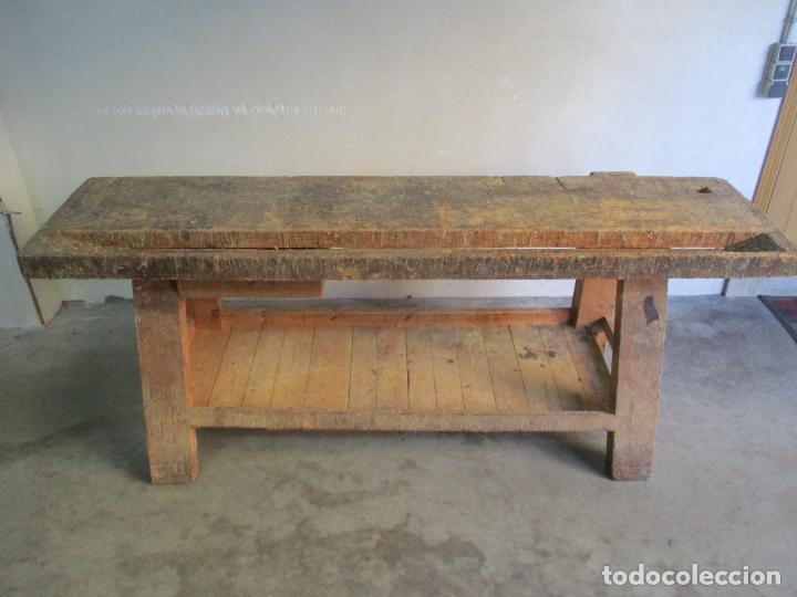 Antigüedades: Antiguo Banco de Carpintero - con Tornillo y Cajón - Largo 198 cm - Ancho - 43,5 cm - Altura 83 cm - Foto 10 - 146077142