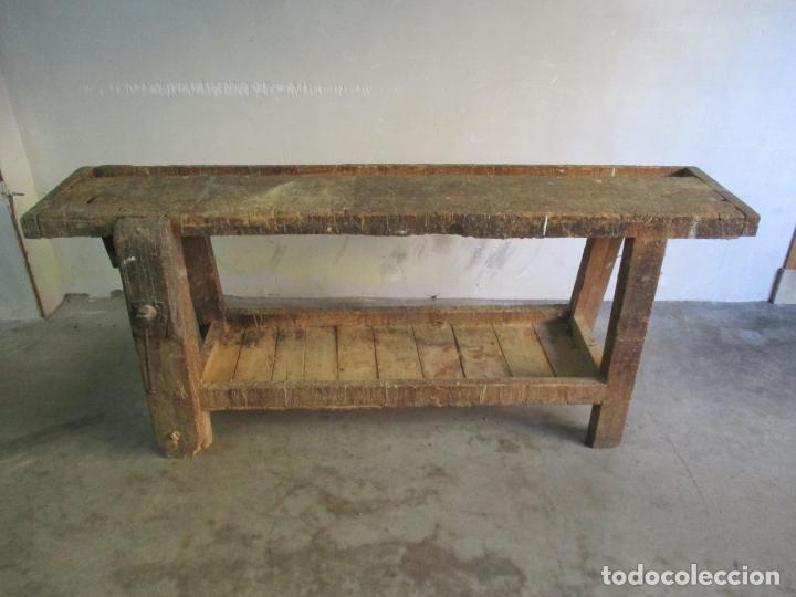 Antigüedades: Antiguo Banco de Carpintero - con Tornillo y Cajón - Largo 198 cm - Ancho - 43,5 cm - Altura 83 cm - Foto 11 - 146077142