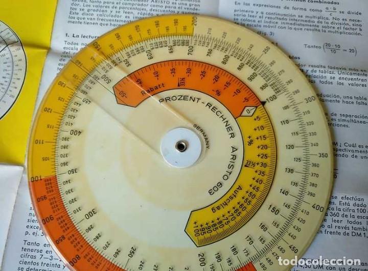 Antigüedades: REGLA DE CALCULO CIRCULAR ARISTO 603 CALCULADORA DE PORCENTAJES SLIDE RULE RECHENSCHIEBER R - Foto 6 - 146081530