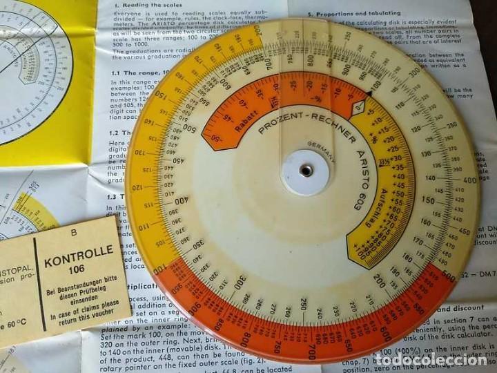 Antigüedades: REGLA DE CALCULO CIRCULAR ARISTO 603 CALCULADORA DE PORCENTAJES SLIDE RULE RECHENSCHIEBER R - Foto 15 - 146081530
