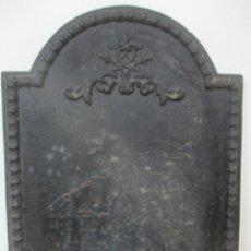 Antigüedades: ANTIGUA PLACA DE CHIMENEA - HIERRO FORJADO - PARTE TRASERA CHIMENEA - TRASFUEGO - S. XIX. Lote 146116502