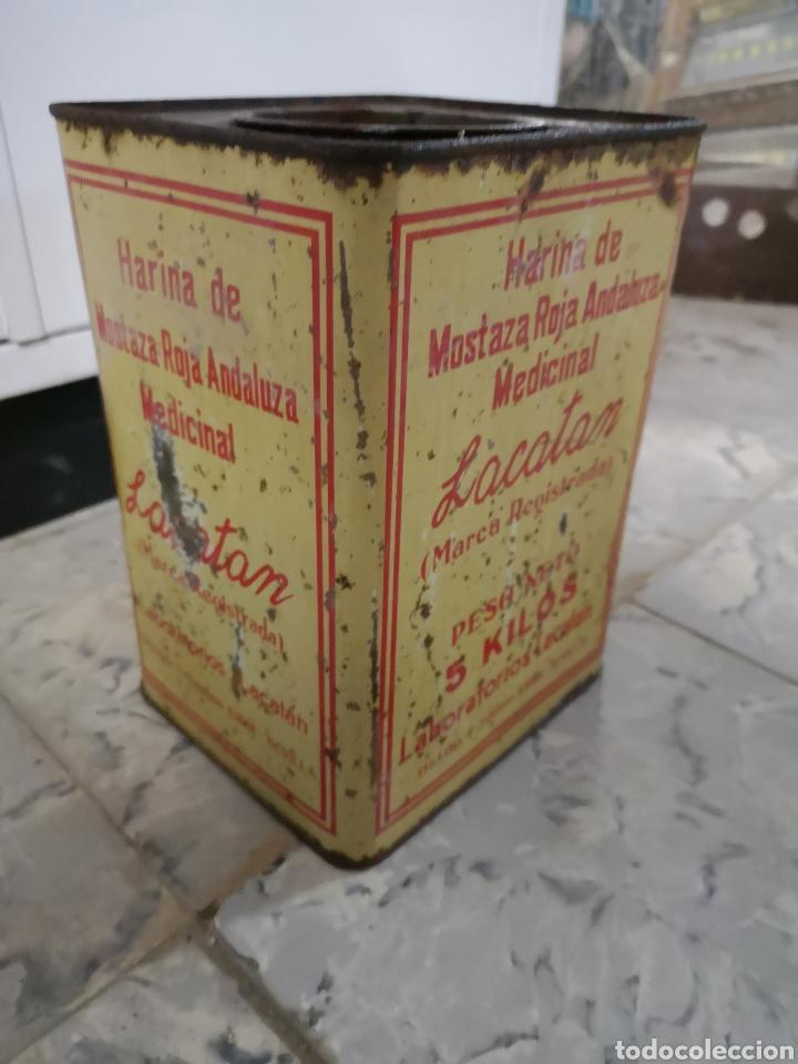 CAJA METALICA LACATAN, HARINA DE MOSTAZA ROJA ANDALUZA MEDICINAL, GRANDE, MUY RARA (Antigüedades - Técnicas - Herramientas Profesionales - Medicina)