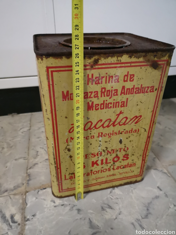 Antigüedades: CAJA METALICA LACATAN, HARINA DE MOSTAZA ROJA ANDALUZA MEDICINAL, GRANDE, MUY RARA - Foto 4 - 146433698