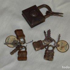 Antigüedades: LOTE DE CANDADOS ANTIGUOS - DE METAL - RGM - MIRA LAS FOTOS PARA DETALLES - VINTAGE - ENVÍO 24H. Lote 146629946