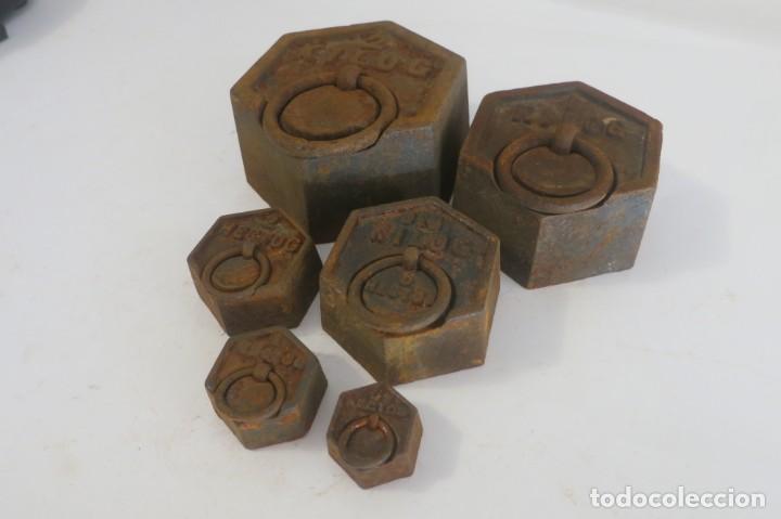 LOTE DE PESAS EXAGONALES PARA BALANZA (Antigüedades - Técnicas - Medidas de Peso - Balanzas Antiguas)