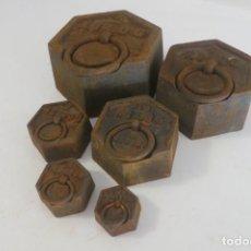 Antigüedades: LOTE DE PESAS EXAGONALES PARA BALANZA. Lote 146879134