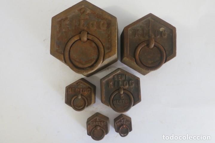 Antigüedades: lote de pesas Exagonales para balanza - Foto 2 - 146879134