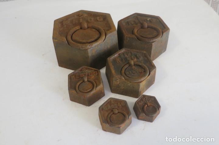 Antigüedades: lote de pesas Exagonales para balanza - Foto 3 - 146879134