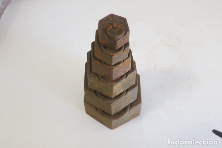 Antigüedades: lote de pesas Exagonales para balanza - Foto 5 - 146879134
