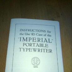Antigüedades: INSTRUCCIONES MÁQUINA DE ESCRIBIR-**IMPERIAL-PORTABLE-TYPEWRITER**(EN INGLÉS) ---FAC-SIMIL. Lote 146984214