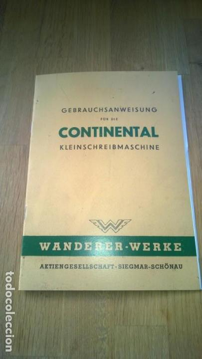 INSTRUCCIONES MÁQUINA DE ESCRIBIR-**CONTINENTAL**(EN ALEMAN) ---FAC-SIMIL (Antigüedades - Técnicas - Máquinas de Escribir Antiguas - Continental)