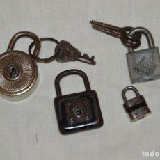 Antigüedades: LOTE DE 4 CANDADOS ANTIGUOS - RGM - BURG - DULV - VINTAGE - MIRA LAS FOTOS - ENVÍO 24H. Lote 147063726