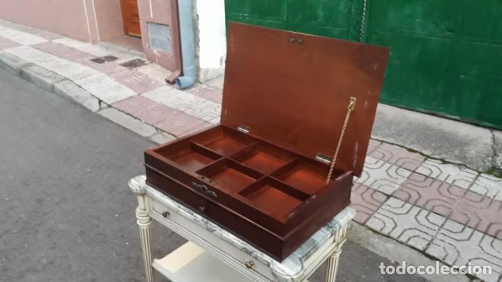 Antigüedades: Costurero antiguo estilo isabelino. Mueble costurero o joyero antiguo marquetería floral. - Foto 2 - 147100318