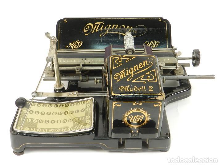 Antigüedades: MAQUINA DE ESCRIBIR MIGNON Nº2 AÑO 1905 TYPEWRITER SCHREIBMASCHINE - Foto 2 - 147249874