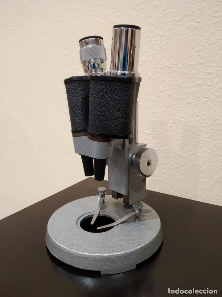 ANTIGUO MICROSCOPIO BINOCULAR ESTEREOSCOPICO -SOPEL- ALTA PRECISIÓN (RELOJERÍA...) (Antigüedades - Técnicas - Instrumentos Ópticos - Microscopios Antiguos)