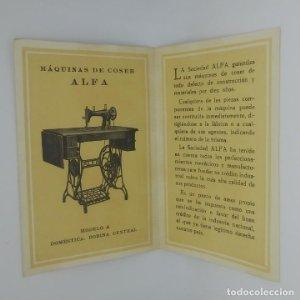 Díptico ALFA Eibar España Primera manufactura Española de maquinas de coser Ver fotos