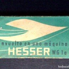 Antigüedades: HOJA DE AFEITAR ANTIGUA-HESSER,ENVUELTO EN UNA MAQUINA,FR.HESSER-WG-1A,FAB.MAQUINARIA (DESCRIPCIÓN. Lote 147453778