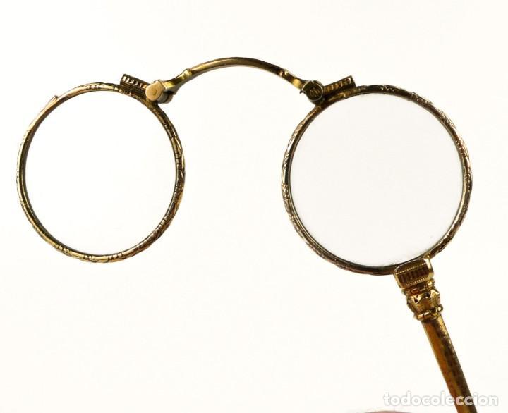 ANTIGUOS IMPERTINENTES PLEGABLES BAÑO DE ORO BAJO - FINALES S.XIX PRINCIPIOS S.XX (Antigüedades - Técnicas - Otros Instrumentos Ópticos Antiguos)