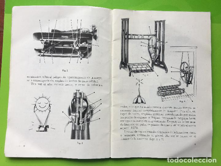 Antigüedades: INSTRUCCIONES PARA EL USO DE LA MAQUINA DE COSER ALFA MODELO B DE BOBINA CENTRAL - Foto 2 - 147680678