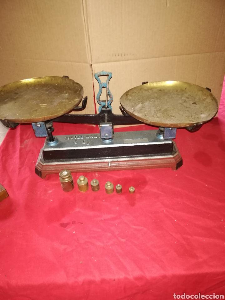 BALANZA CON PESAS SIGLO XIX (Antiquitäten - Technische - Waagen und Gewichte - Antike Balkenwaagen)
