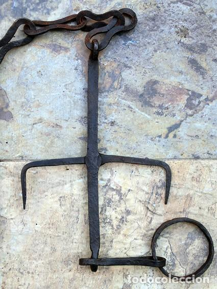 Antigüedades: ANTIGUO Y BONITO HIERRO FORJADO - GANCHO - ESLABONES - ANILLA - PIEZA DECORATIVA - ARTESANÍA RÚSTICA - Foto 16 - 147950578