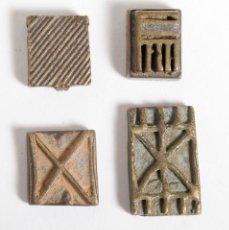 Antigüedades: LOTE DE 4 PESAS ASHANTI PARA PESAR POLVO DE ORO. GHANA. SIGLO XIX. Lote 148028654