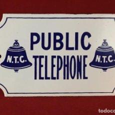 Teléfonos: PLACA ESMALTADA VINTAGE, PUBLIC TELEPHONE NTC, TELÉFONO PÚBLICO BRITÁNICO.. Lote 148261838