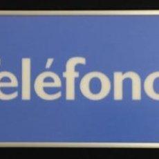 Teléfonos: EXCELENTE Y ANTIGUO CARTEL DE CABINA TELEFÓNICA ESPAÑOLA, CON MARCO DE ALUMINIO, DE TELEFÓNICA. Lote 148263758