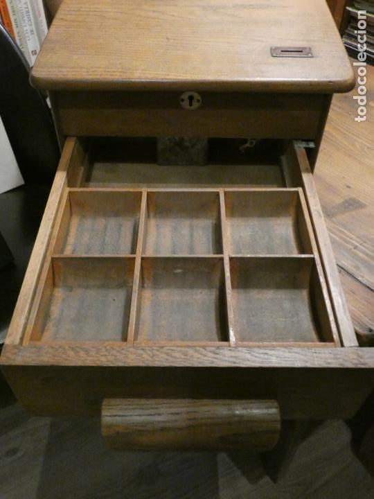 Antigüedades: Antigua caja registradora Alemana, Olten. Timbre que hace de alarma y clave secreta de apertura. - Foto 11 - 148294842