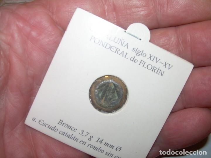 Antigüedades: ANTIGUO PONDERAL DE FLORIN DE BRONCE...ESCUDO CATALUÑA.SIGLO XIV - XV. - Foto 6 - 148590710