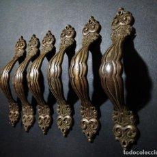 Antigüedades: TIRADORES DE BRONCE ANTIQUE UNIQUE. Lote 148596450
