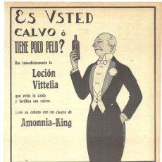Antigüedades: 1920 HOJA REVISTA PUBLICIDAD ANUNCIO PERFUMERÍA HIGIÉNICA CALBER CRECEPELO LOCIÓN VITTELIA AMMONIA-. Lote 149516450