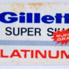 Antigüedades: HOJA DE AFEITAR GILLETTE SUPER SILVER -PLATINUM - MUESTRA GRATIS - SIN ABRIR (CONTIENE CUCHILLA). Lote 149520198