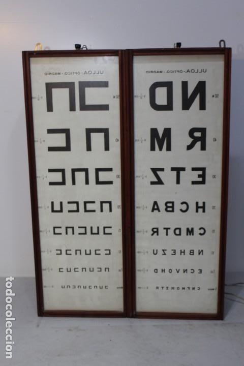 Antigüedades: Magnifico Optometro Ulloa Optico Madrid, símbolos a dos caras e iluminados, muy cuidado - Foto 8 - 149522486
