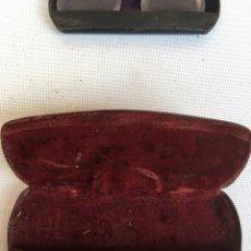 Antigüedades: CAJA DE FUNDAS DE GAFAS ANTIGUA DE LOS AÑOS 30. Lote 149645838