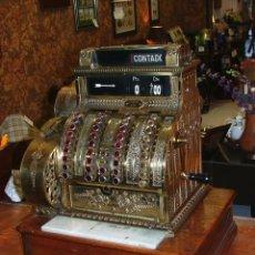 Antigüedades: CAJA REGISTRADORA NATIONAL DEL AÑO 1914. LATÓN CON BASE DE MADERA Y MARMOL.. Lote 149676098